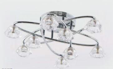 Plafon de Metal + Vidro - Lamp. G9 - 9 Lâmpadas 54x15cm Adn+ 61003/9