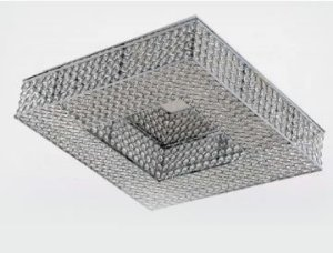 Plafon Metal + Vidro + Cristal 8 Lâmpadas G9 40w 46x46x11hcm Adn+ X5014-8