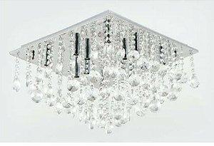 Plafon de Metal + Cristal 12 Lâmpadas BIVOLT G9 500 x 500 h215mm Adn+ SYF16013500