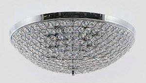 Plafon Metal Cromo e Cristal Transparente 56x16,5cm 9xG9 Bivolt Adn+ MX120715-9 CH+CL