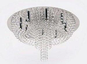 Plafon Metal Cromo e Cristal Transparente ø 55x33cm 9xG9 Bivolt Adn+ MX7107-9