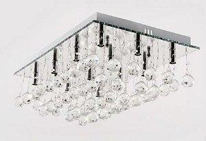 Plafon Cristal com Base de Vidro Espelhado Retangular 60x40 12 Lâmpadas G9 Adn+ SYF13021-5