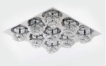 Plafon Metal Cromo e Cristal Transparente 66x66x15cm 9xG9 Bivolt Adn+ X5669-9
