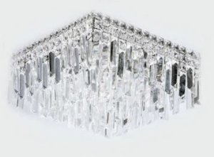 Plafon Metal Cromo + de Cristal K5 5 lâmpadas G9 400 x 240 mm Adn+ BF8115B-X6