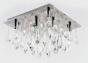 Plafon Maria Cristina Metal Cromo e Cristal Transparente 30x30cm 6xG9 Bivolt Adn+ SYF1612/6D300 CH