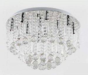 Plafon Cristal Transparente 12 Lâmpadas G9 50X50cm Adn+ SJ8052/12CH