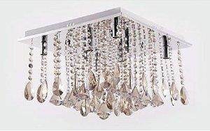 Plafon Dalia 10 Cristal Champanhe 40x40cm 8xG9 Bivolt Adn+ 9289/8D400CL