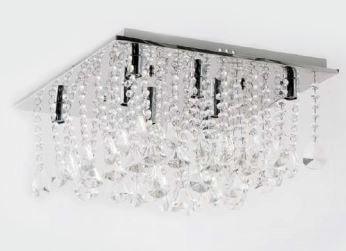 Plafon Dalia 7 Metal Cromo Cristal Transparente 8 Lâmpadas G9 - Bivolt 40x40cm Adn+ 9289/8D400CH