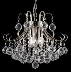 Pendente Metal + Cristal Transparente 4 Lâmpadas E14 - Bivolt ø 40cmx40cm Adn+ SJ5114/4CL