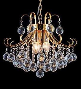 Lustre Vita Metal Dourado + Cristal Transparente - 3 Lâmpadas E14 Bivolt D35xA40cm Adn+ SJ5114/3FGD