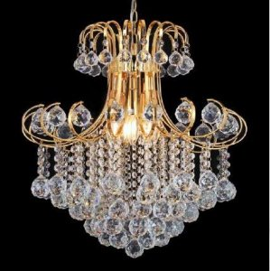 Lustre Vivi Metal Dourado + Cristal Transparente - 5 Lâmpadas E14 Bivolt (D)50x(A)52 cm Adn+ SJ6107/5FGD