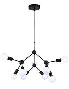 Pendente Cluster Metal 66x53cm 9xE27 40W Cor Preto Casual Light QPD13229