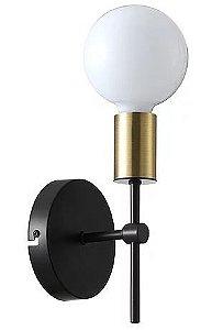 Arandela Torch Metal 11x A19,5cm 1xE27 40W 7 Bivolt Cor Preto e Dourado Casual Light QAR1349DO