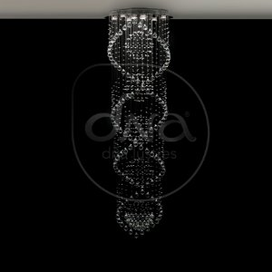 Plafon Sobrepor DNA Solar Redondo c/ 5 Esferas Metal e Cristal 200xØ65 DNA Lustres DNA65-5 ESF