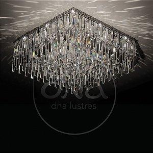 Plafon Sobrepor Quadrado Metal e Cristal 40x40 DNA Lustres IN-QU40-PLACAS