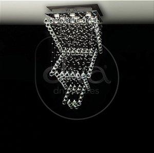 Plafon Sobrepor Arraia Escada Metal e Cristal 90x47 DNA Lustres QU-009-ESC