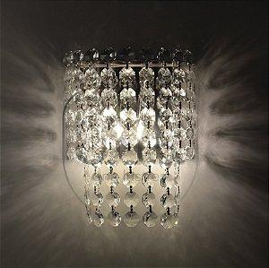 Arandela Vênus Raiado Metal e Cristal 24x20 DNA Lustres ARA-005