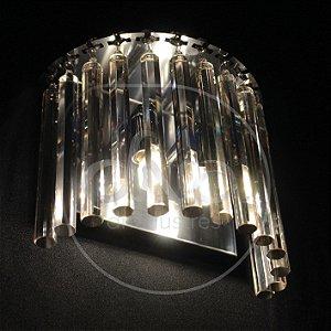 Arandela Hermes Raiado Metal e Cristal 20x18 DNA Lustres ARA-006