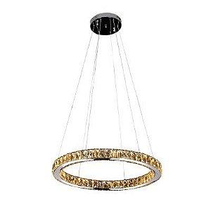 Pendente LED Aura Metal e Cristal 3000K Quente 24W Ø60 Cromado e Transparente Bella ID010C