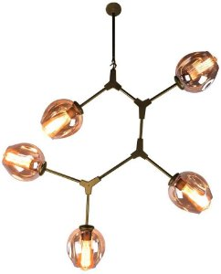Pendente Orbe Metal e Vidro 5xE27 95x80x40 Cor Dourado e Champanhe Bella Iluminação KY001SG