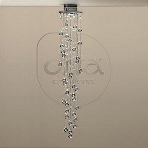 Plafon Sobrepor Orvalho Redondo Metal e Cristal 150xØ18 DNA Lustres RD-001/30-L