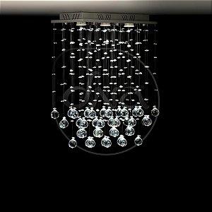 Plafon Sobrepor Brumas Metal e Cristal 50x60x20 DNA Lustres RT-003