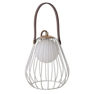 Abajur Lamp Aramado Metal e Couro 22xØ18 Branco e Marrom Bella ML001W