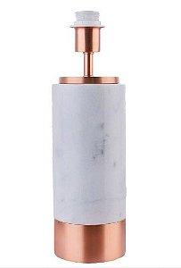 Base para Abajur Marmo 12X39cm 1xA60 40W Cor Cobre e Branco Bella Iluminação GL001EW