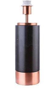 Base para Abajur Marmo 12cm x 39cm 1xA60 40W Cor Cobre e Preto Bella Iluminação GL001EB