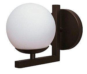 Arandela Angular Preta Com Globo Fosco 140mm x 220mm 1 E27 Usina Design 1645914