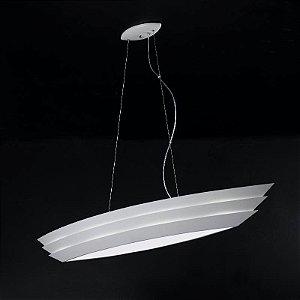 Pendente Boat Acrilíco 167x30x150cm 6XE27 Cor Branco Bella Iluminação HO076