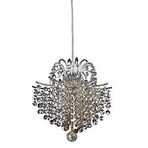 Pendente Fiore em Metal e Cristal 24xØ26cm 1XG9 Cor Âmbar e Cromado Bella Iluminação HU2107A
