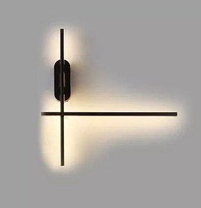 Arandela Cross Preto Texturizado Led 20w 2700K L-48cm C-55cm H11cm + Luz AR-094/20.27PF