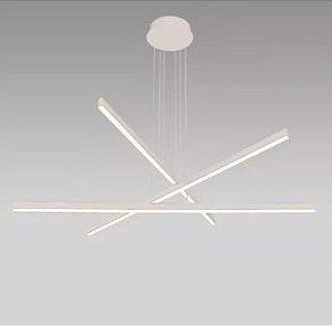 Pendente Flat Line Branco Texturizado Led 48w 2700K D102cm H-120cm  Mais Luz PE-096/48.27BF