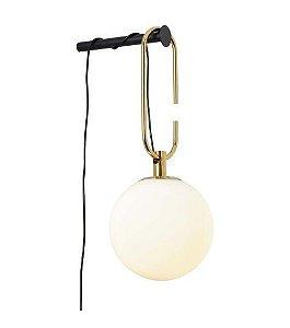 Arandela Mob 1L E14  29cmx14cmx15cm  1x7W E14 Cor Dourado e Preto Bella Iluminação YD004