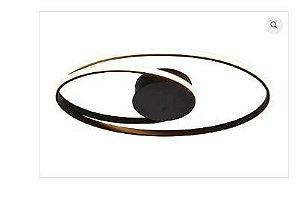 Plafon Occhi Metal e Acrílico 54x30x05cm LED 44W 3000K Bivolt Cor Preto Casual Light PL1342PT