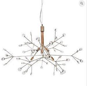 Lustre Spring Cristais 88x60cm 6xG9 LED 25W Cor Cobre Quality LT637