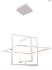 Pendente Square Metal 58x57x10cm LED 32W 3000K Cor Branco Casual Light PD1243-BR