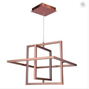 Pendente Square 58x57x10cm  LED 32W 3000K 50cm Cor Cobre Casual Light PD1243-CO
