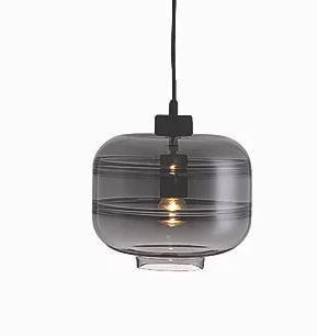 Pendente Stripe Vidro e Metal 25x25,2cm 1xE27 40W Cor Preto com Cúpula de vidro Fumê Casual Light PD1274-FM