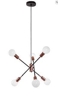 Pendente Bolt 59x14x15cm 6xE27 40W Cor Cobre Casual Light QPD1363