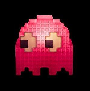 Luminária de Mesa Fantasminha Pixel Pacman Rosa Usare 1862