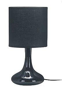 Abajur Sicília Preto Cerâmica Tecido 1xE27 40W 15x30cm Quality QAB914-PT