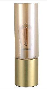 Abajur Spire Vidro e Metal 9x30cm 1xE27 Lâmpada LED de Filamento Cor Dourado e Vidro Champagne Casual Light QAB1325CH
