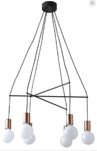Pendente Trace Metal 62x105cm 6xE27 40W Cor Cobre Casual Light QPD1354