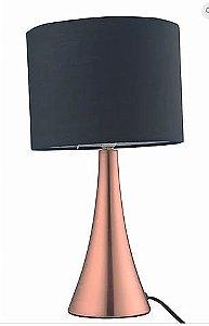 Abajur Turret Metal 11x36,5cm 1xE27 Cor Cobre Cúpula Preta Casual Light  QAB1069-PT