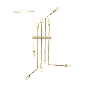 Arandela Flusso Grande Alumínio Cor Dourado E27 127v/220v 10 Lâmpadas 116x1471x9,42cm Klaxon 12010216DOU