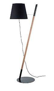 Luminária Z Estrutura em Madeira de Lei Cúpula Preta E27 40W 127v/220v 57x178x43cm Klaxon 13100001