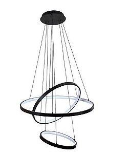 Pendente Rings 80cmx150cm 100W 2700K Bivolt Preto Fosco Mais Luz PE-103/100.27PF