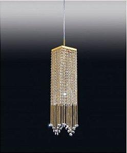 Pendente de Metal e Cristal Clear Retangular Dourado 62x13x13cm G9 Old Artisan PD-5274